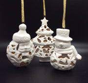 A delicate design with a thread of gold. Filigree Bisque Ornaments. - HartFelt Keepsakes
