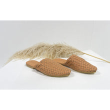 Woven Leather Mules- Blush