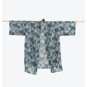 NZ Native Print Kimono- Ink Grey