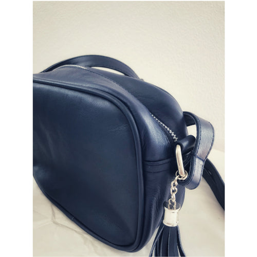 Mini Leather Bag- Navy