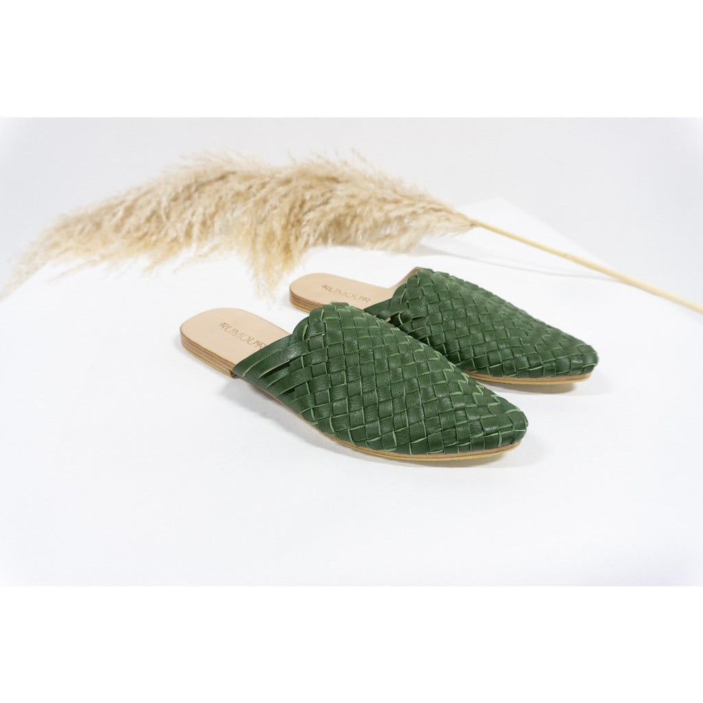 Woven Leather Mules- Olive
