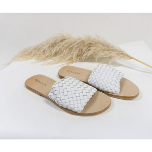 Woven Leather Slides White- LAST PAIR size 8!!