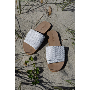 Woven Leather Slides White