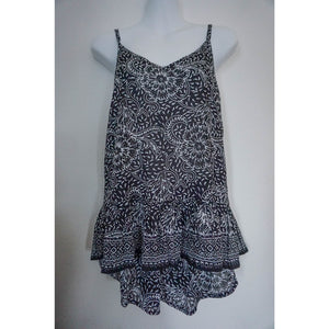 Cami Frill Singlet- Black and White Peony