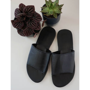 Slides- Black Leather