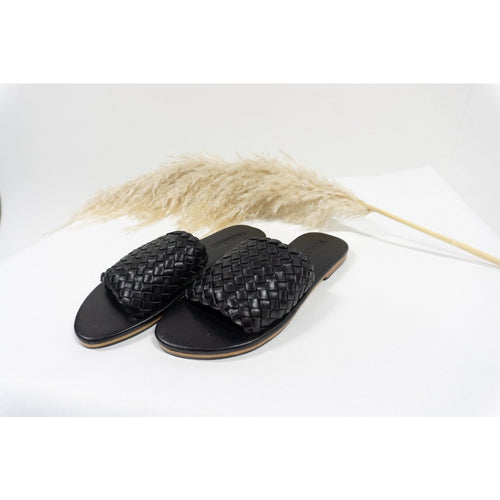 Woven Leather Slides- Black