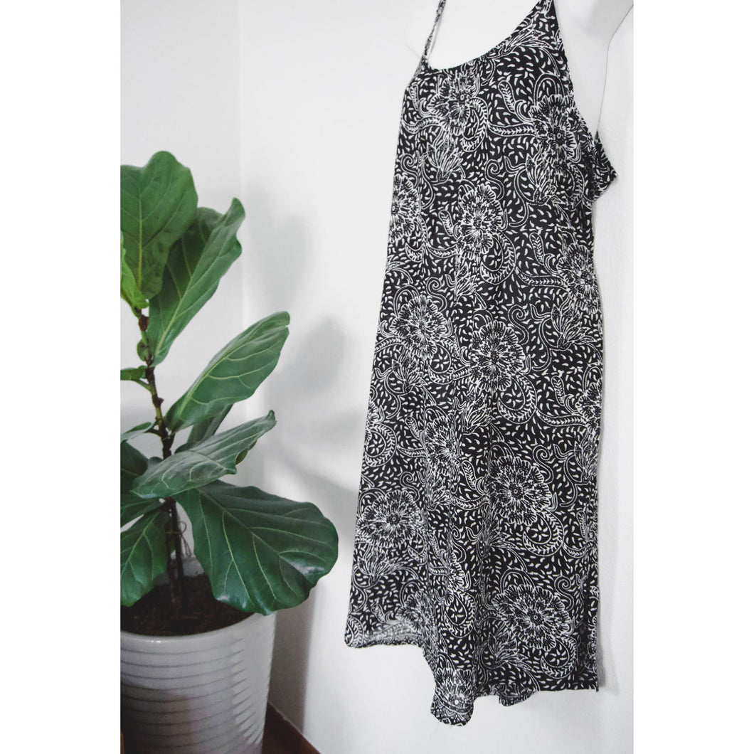 Slip Dress- Black and White Peony