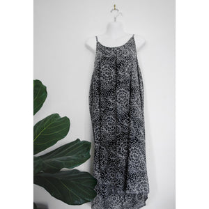 Slip Dress- Ink Grey Peony