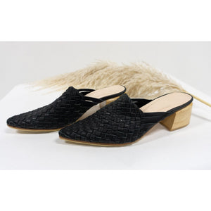 Stepped Up Mule- Woven leather Black