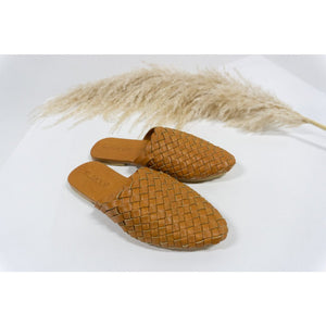 Woven Leather Mules- Tan