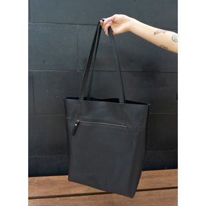 Leather Tote Bag- Black