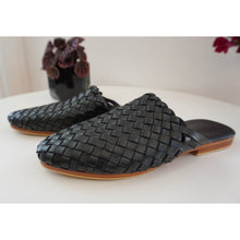 Woven Leather Mules- Black