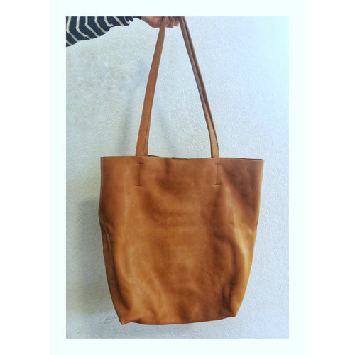 Leather Tote Bag- Tan