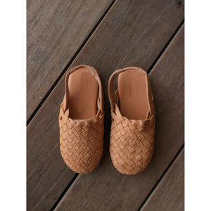 MINI Woven Leather Sandals- Blush