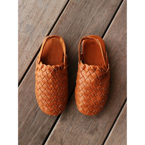 MINI Woven Leather Sandals- Tan