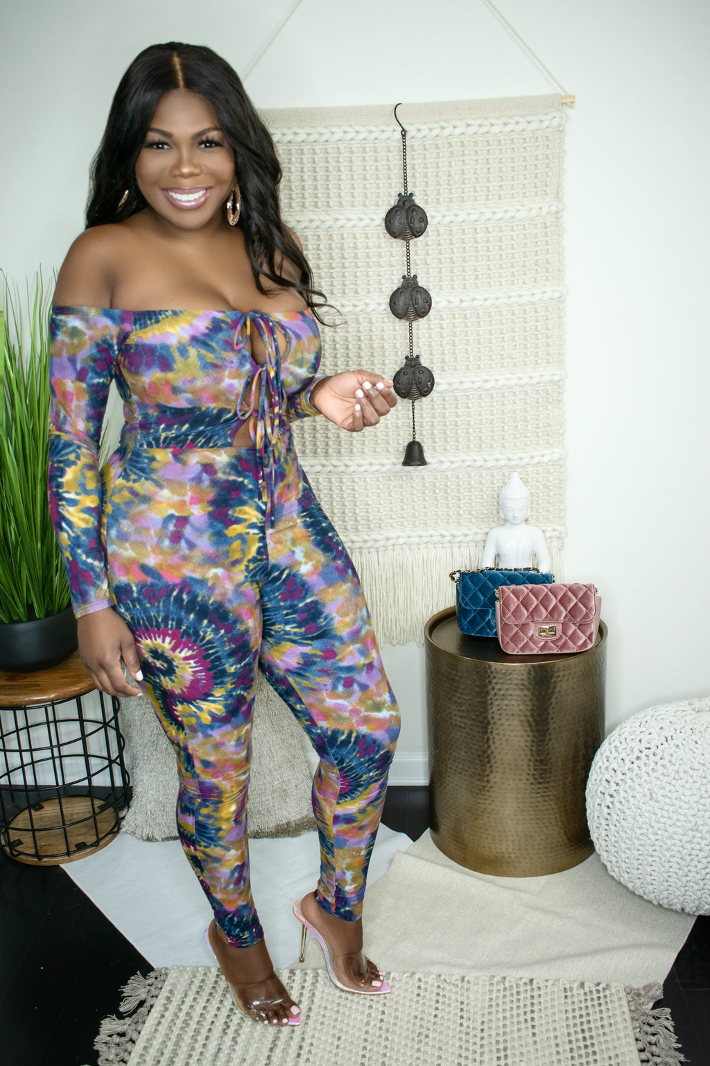Avery Purple Tie Dye Long Sleeves Jumpsuit - GLISTENSTYLES