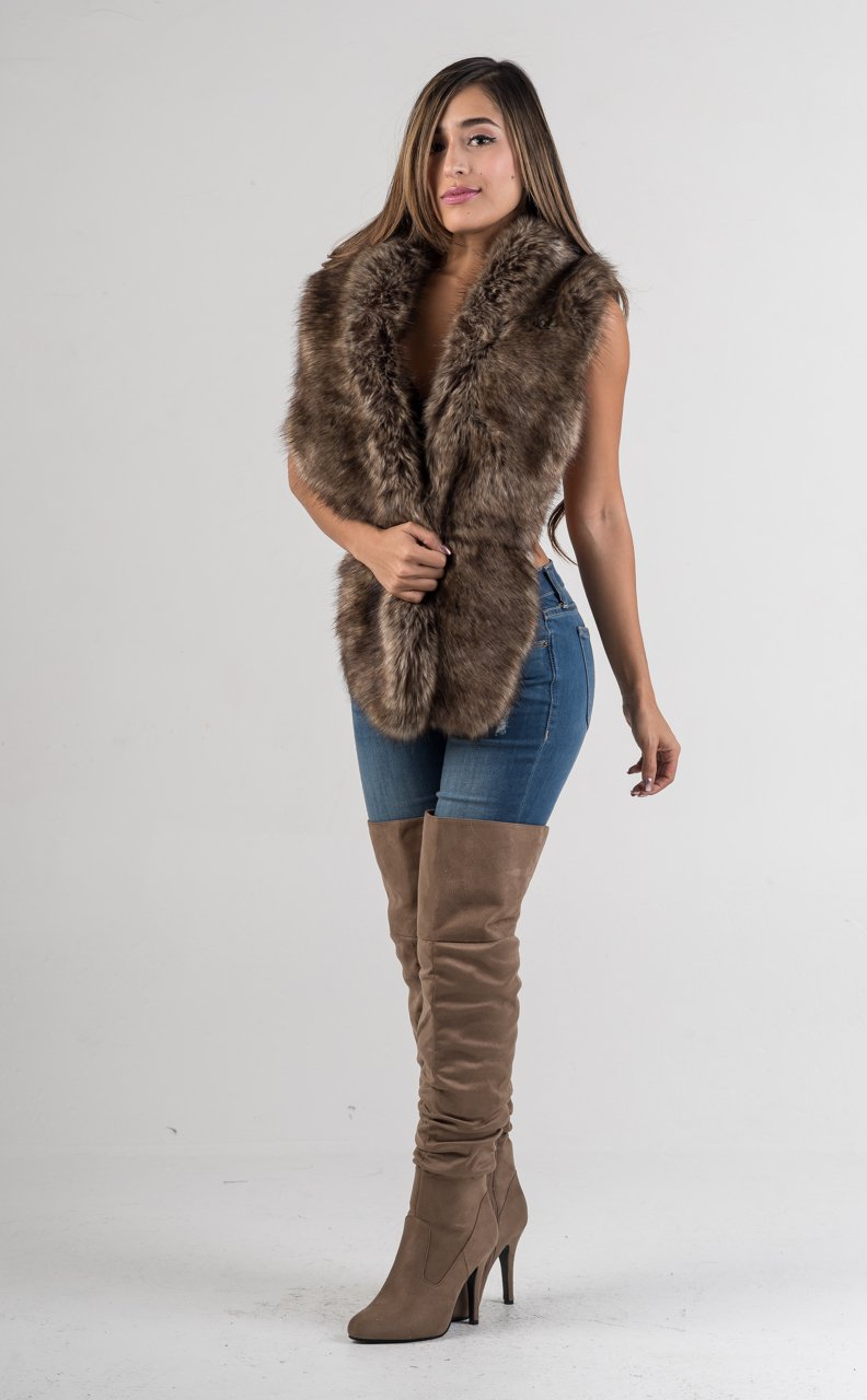 Brown Faux Fur Scarf Collar - GLISTENSTYLES