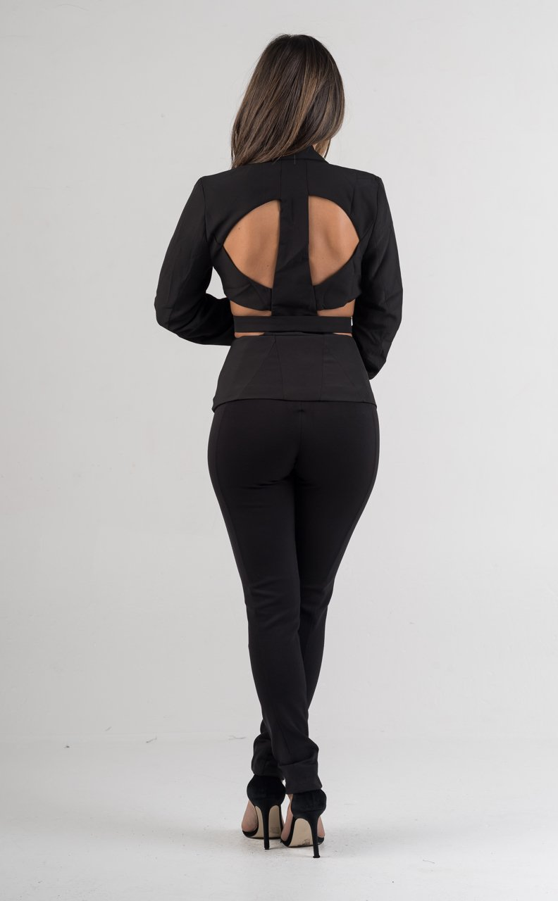 Black Collared Long Sleeves Peplum Top - GLISTENSTYLES