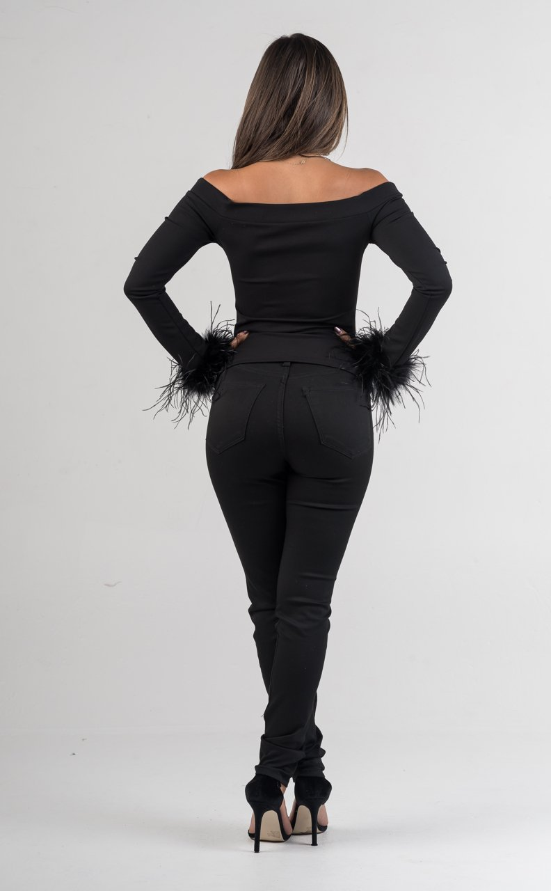 Black Off The Shoulders Feathered Sleeves - GLISTENSTYLES