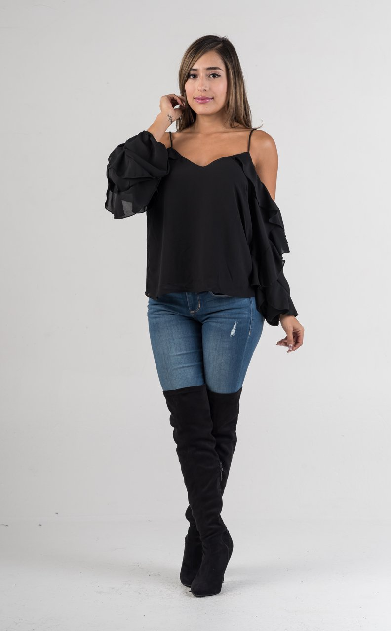Black Sheer Off The Shoulders Ruffle Spaghetti Strap Top - GLISTENSTYLES