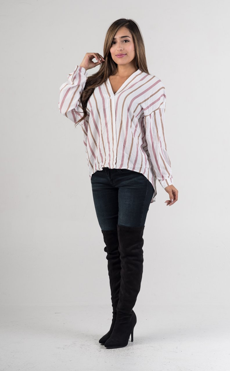 Blush Multi Color Stripes Top - GLISTENSTYLES