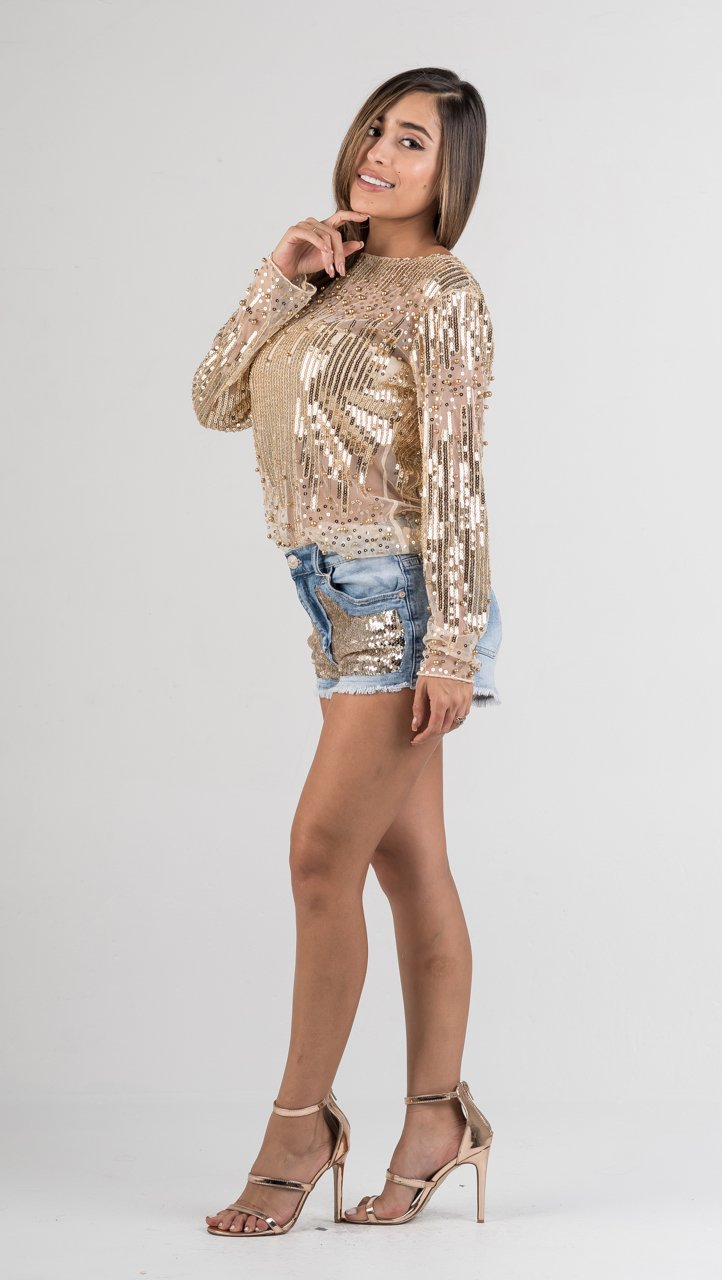 Gold Pearl Sequin Mesh Top - GLISTENSTYLES