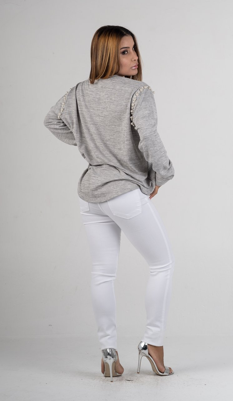 Grey Long Sleeves Pearl Shirt - GLISTENSTYLES