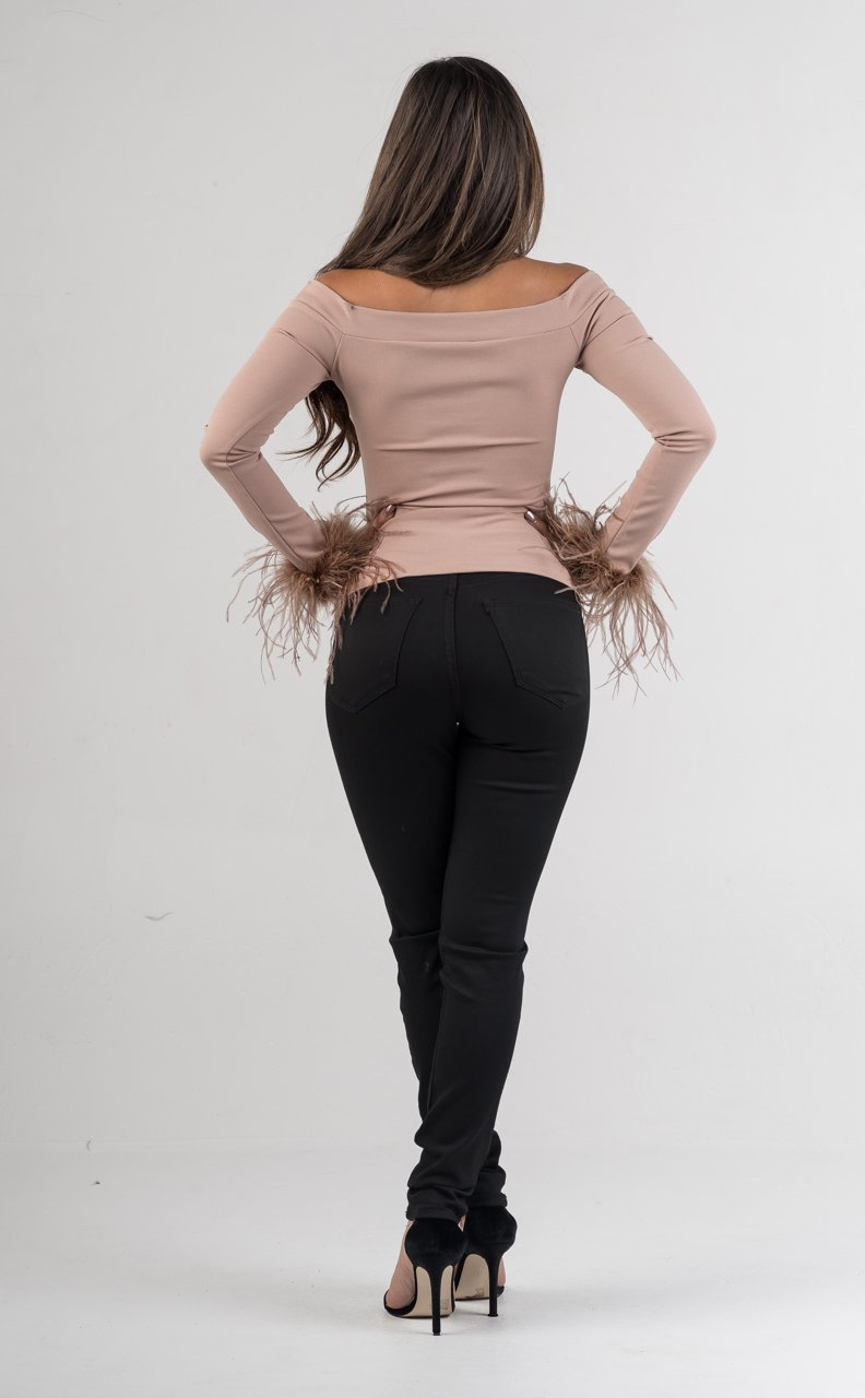 Nude Off The Shoulders Feathered Sleeves - GLISTENSTYLES