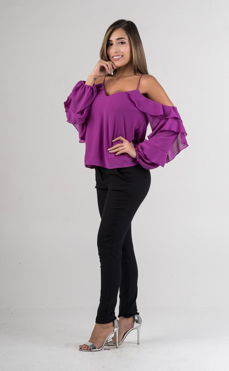 Purple Sheer Off The Shoulders Ruffle Spaghetti Strap Top - GLISTENSTYLES
