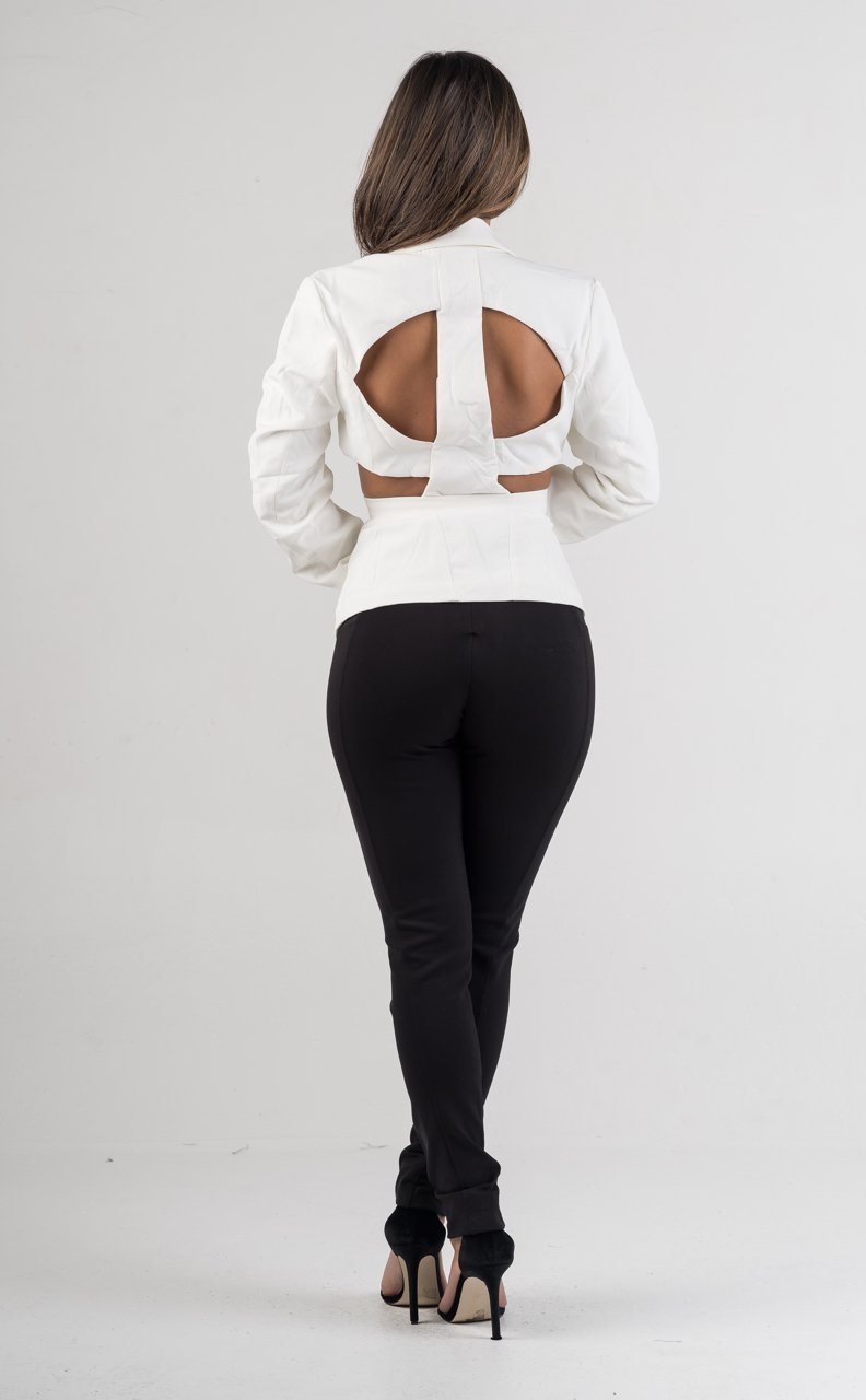 White Collared Long Sleeves Peplum Top - GLISTENSTYLES