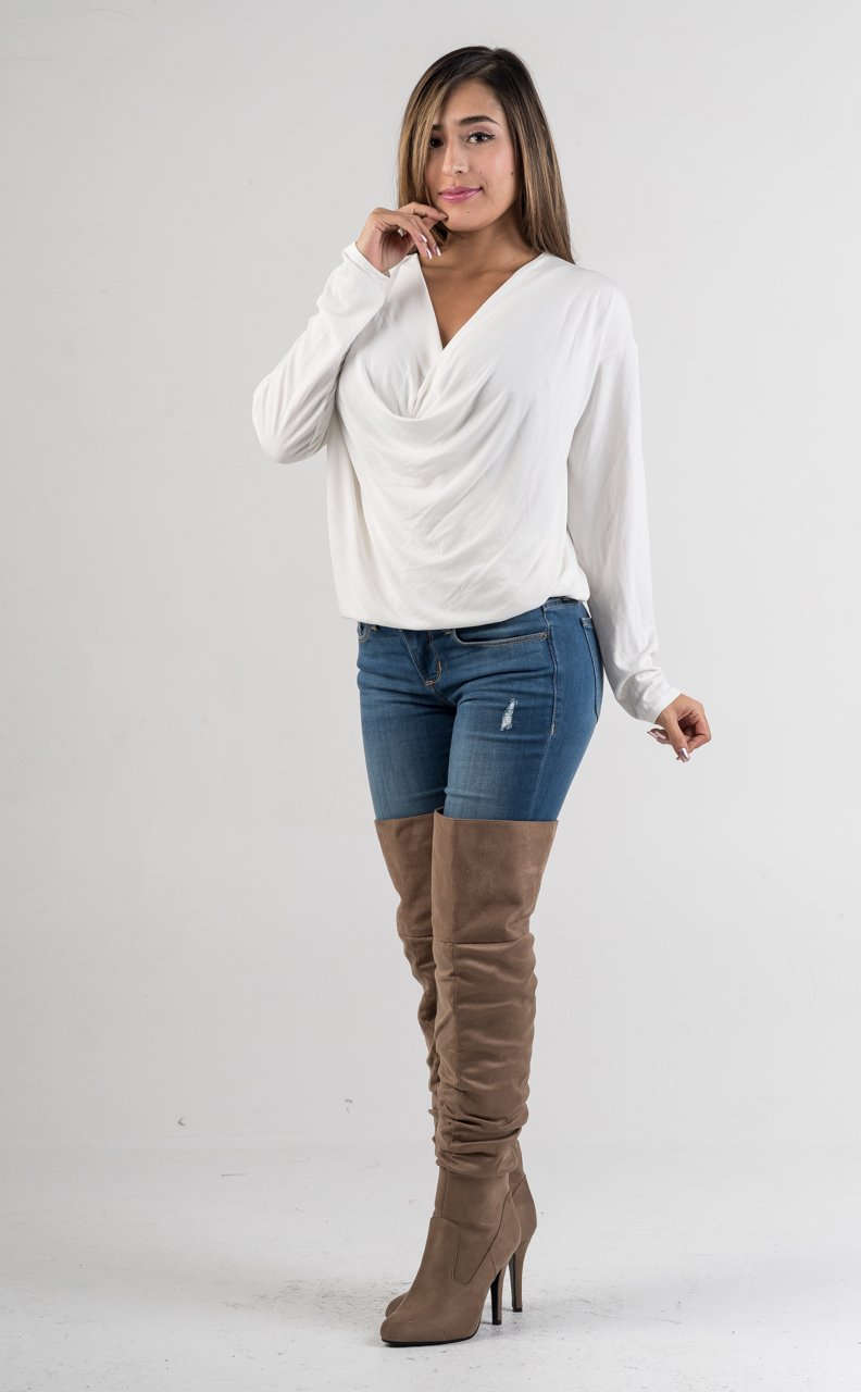 White Long Sleeves Draped Top - GLISTENSTYLES