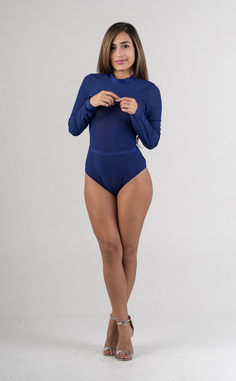 Royal Blue Sheer Mesh Bodysuit - GLISTENSTYLES