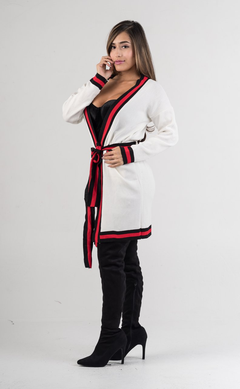 White Blind for Love Belted Cardigan Jacket - GLISTENSTYLES