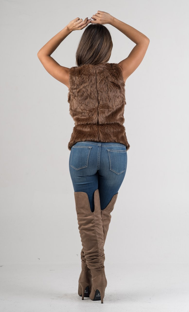 Brown Faux Fur Vest Coat - GLISTENSTYLES