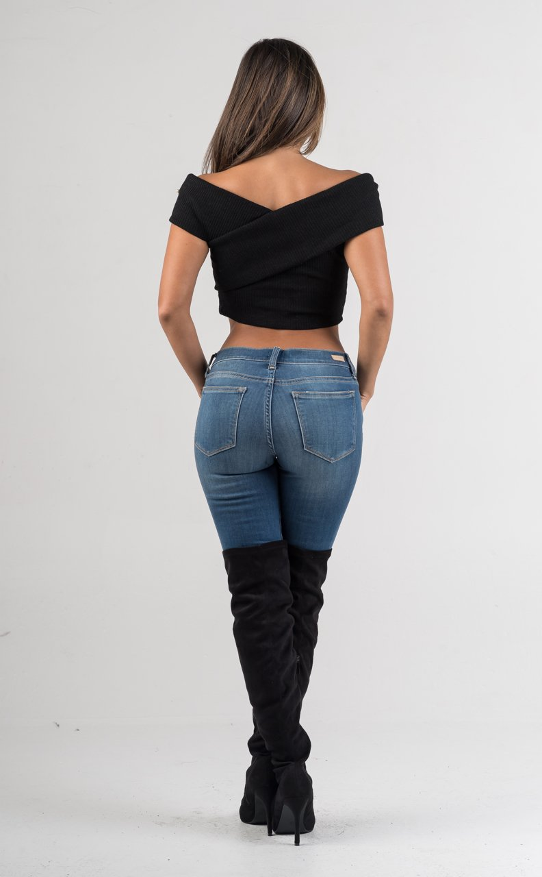 Black Pearl Faux Wrap Crop Top - GLISTENSTYLES