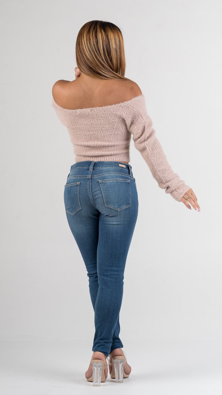 Blush Off The Shoulder Fuzzy Sweater Crop Top - GLISTENSTYLES