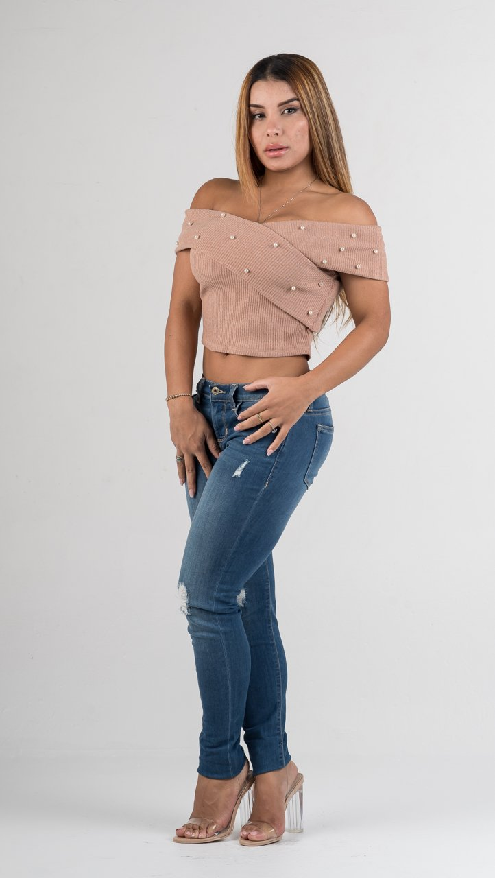 Blush Pearl Faux Wrap Crop Top - GLISTENSTYLES