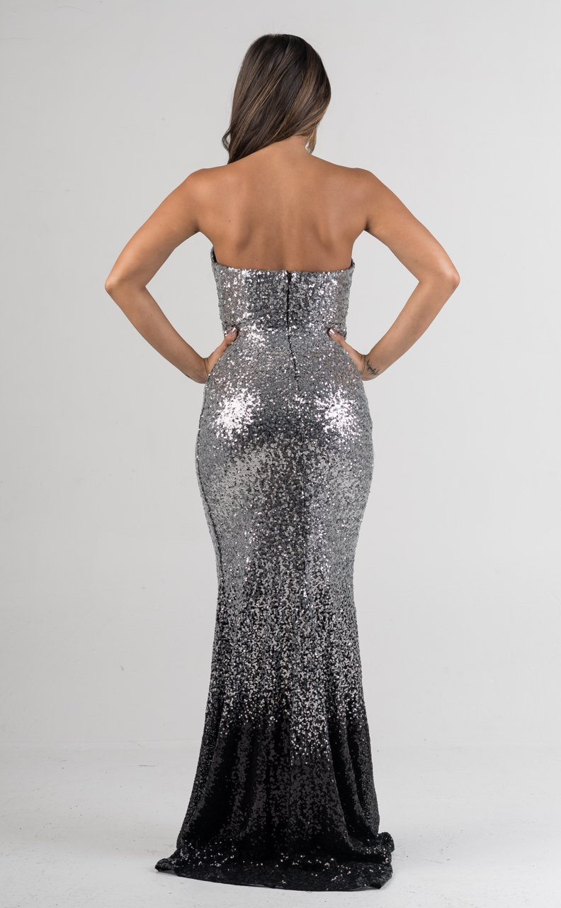 Silver Black Strapless Padded Sequins Gown - GLISTENSTYLES