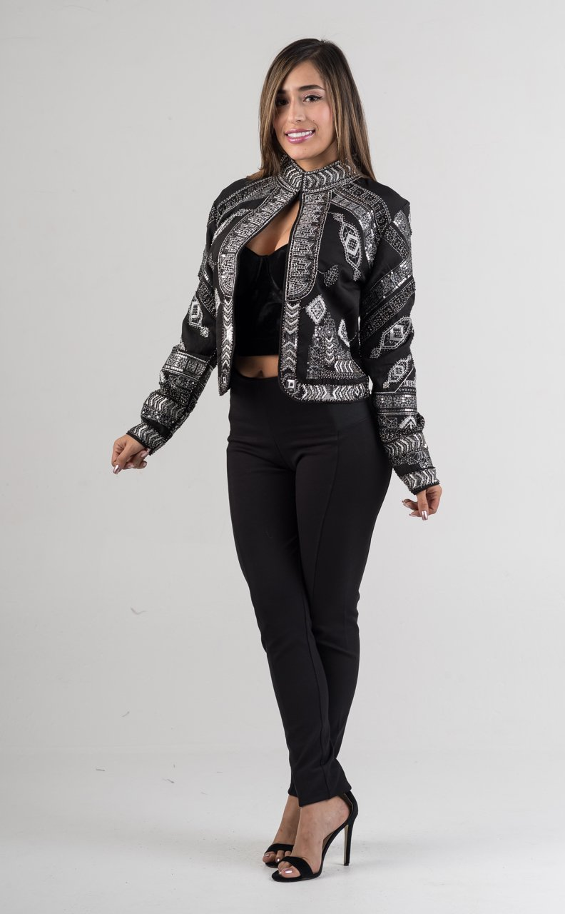 Black Beaded Sequin Embroidered Mock Neck Jacket - GLISTENSTYLES