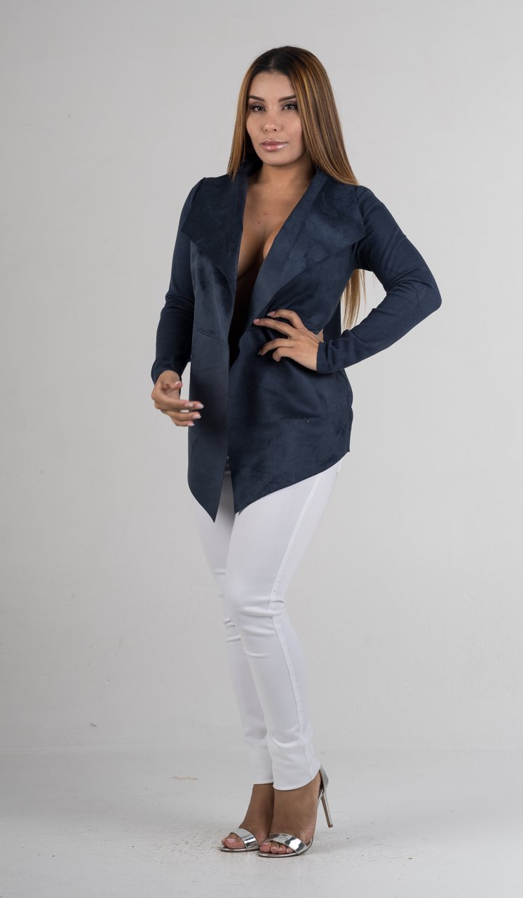 Blue Suede Waterfall Jacket - GLISTENSTYLES