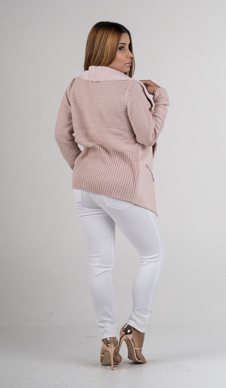 Blush Faux Fur with Knitted Back Jacket - GLISTENSTYLES