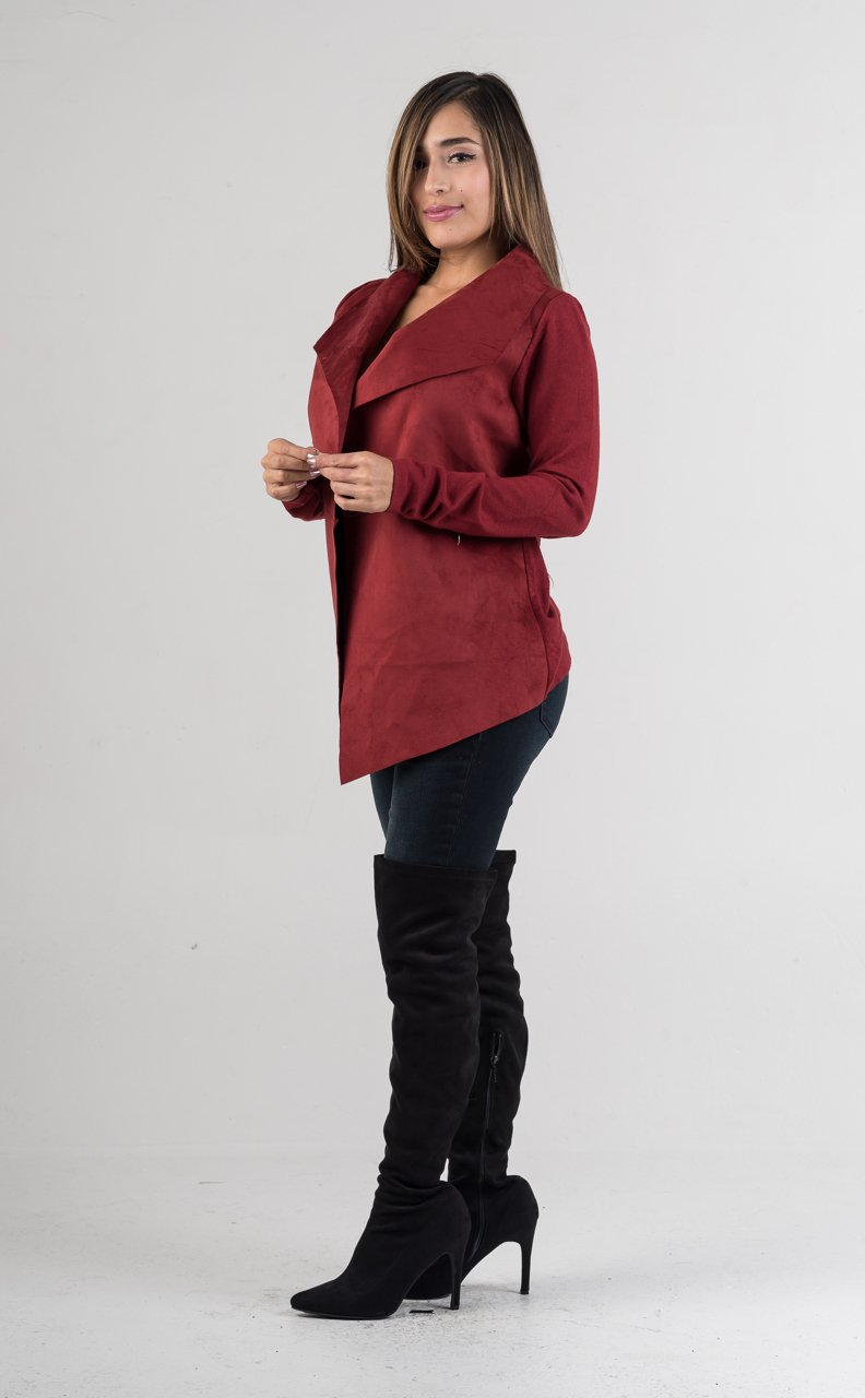 Burgundy Suede Waterfall Jacket - GLISTENSTYLES