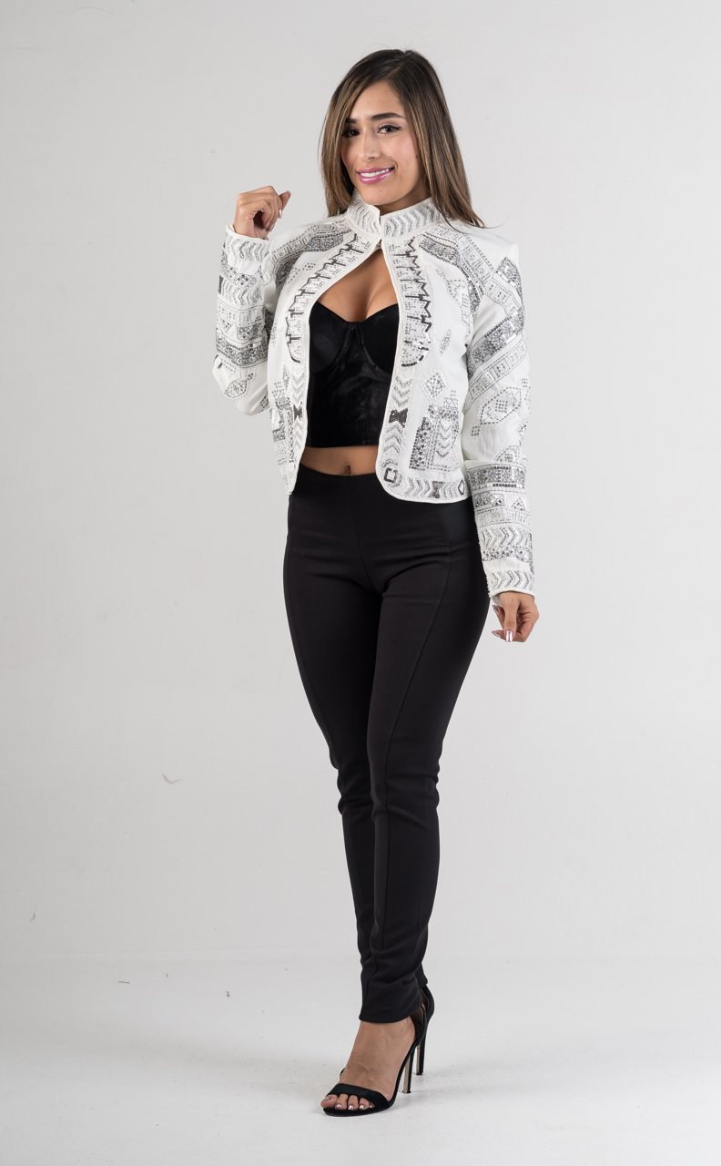 White Beaded Sequin Embroidered Mock Neck Jacket - GLISTENSTYLES
