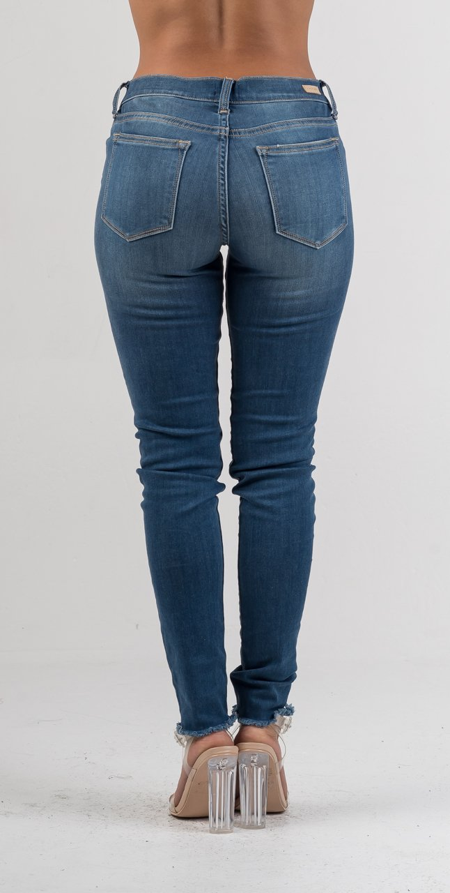 Denim Low Rise Ankle Frayed Skinny Jeans - GLISTENSTYLES