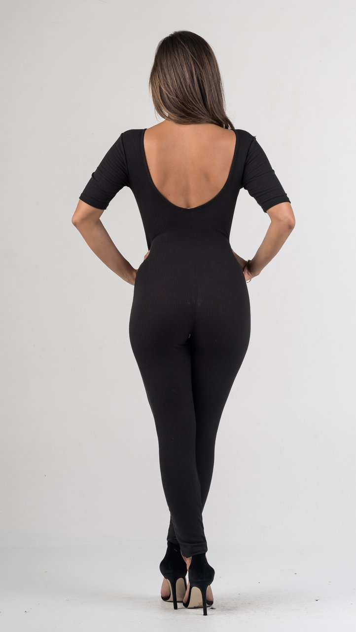 Black Lace up Ribbed Jumpsuit - GLISTENSTYLES