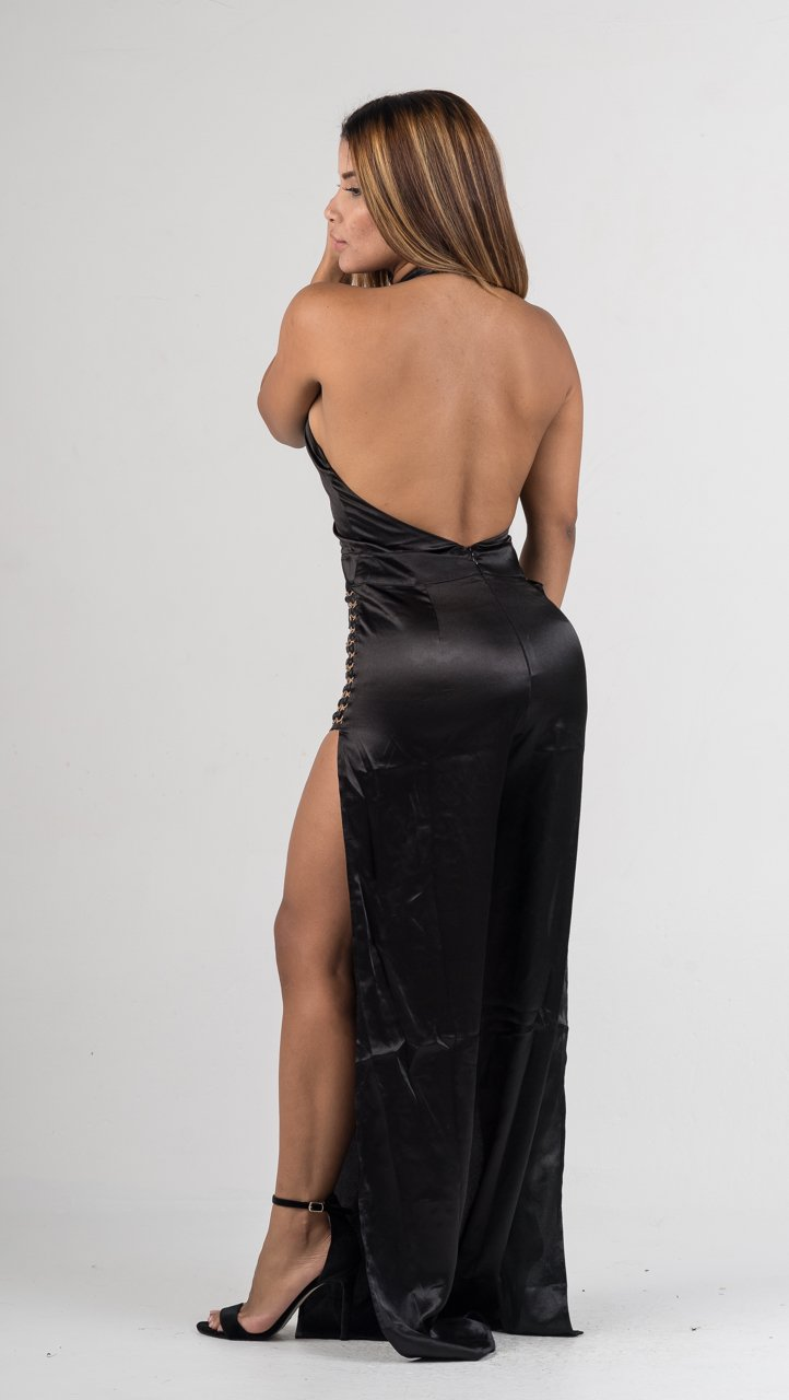 Black Satin Gold Hoop Detail Jumpsuit - GLISTENSTYLES