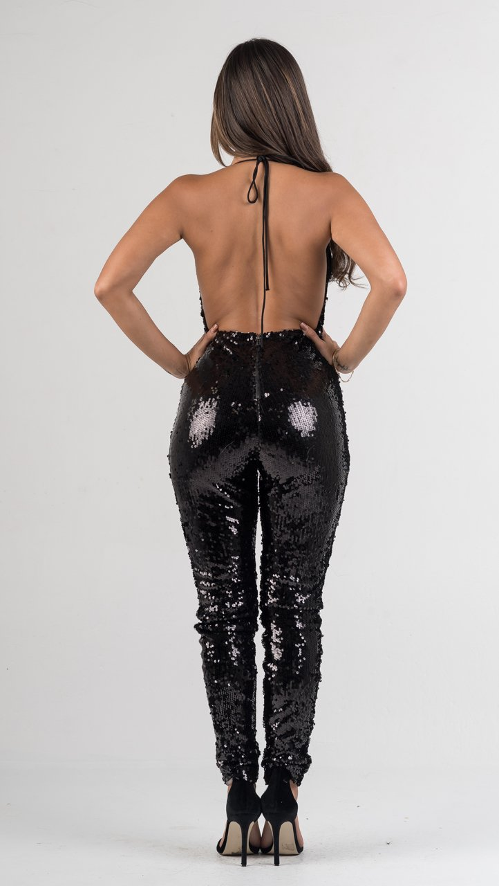 Black Sequin Draped Open Back Jumpsuit - GLISTENSTYLES