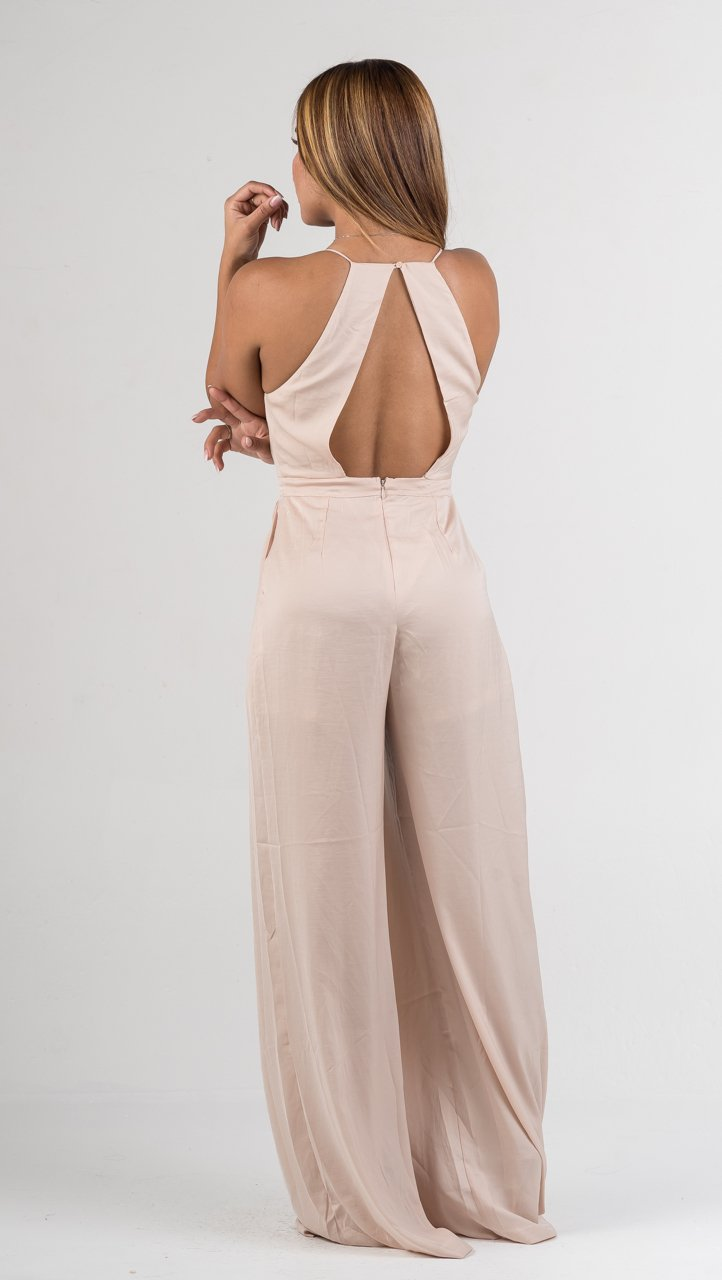 Blush Deep V Open Back Jumpsuit - GLISTENSTYLES