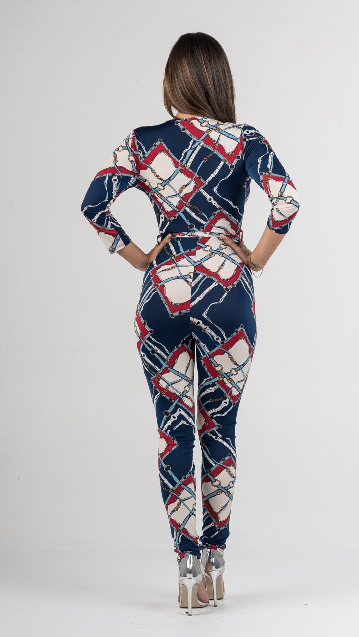 Multi-Color Chain Print Jumpsuit - GLISTENSTYLES