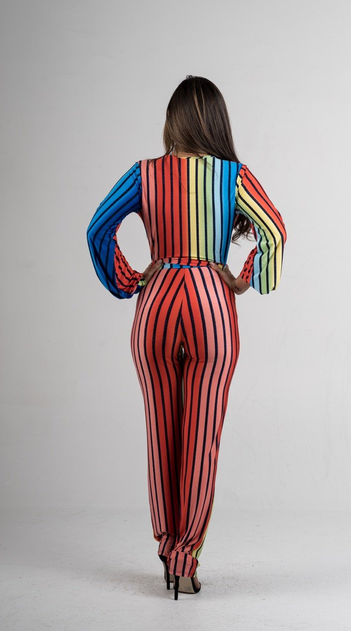 Multi Color Striped Belted Jumpsuit - GLISTENSTYLES